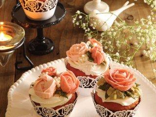 کاپ کیک گل های رز