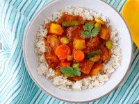 خوراک سبزیجات با پلو