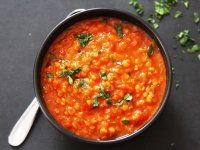 خوراک عدس و گوجه فرنگی ؛  یک شام رژیمی فوری