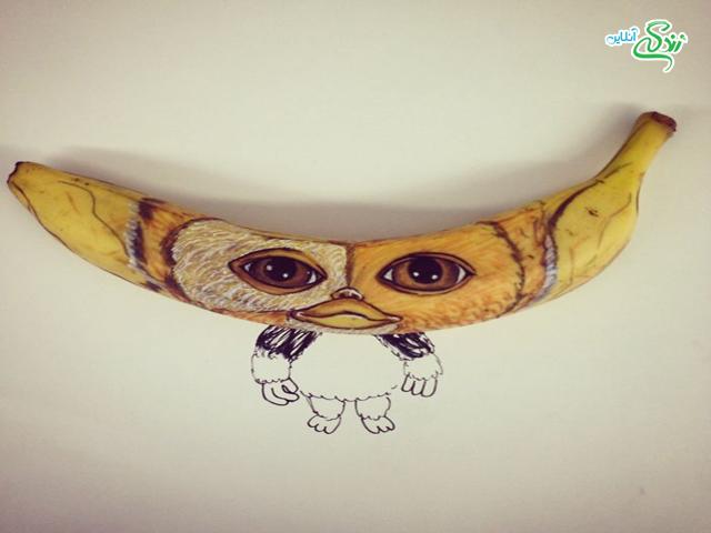 نقاشی شخصیت های معروف روی موز