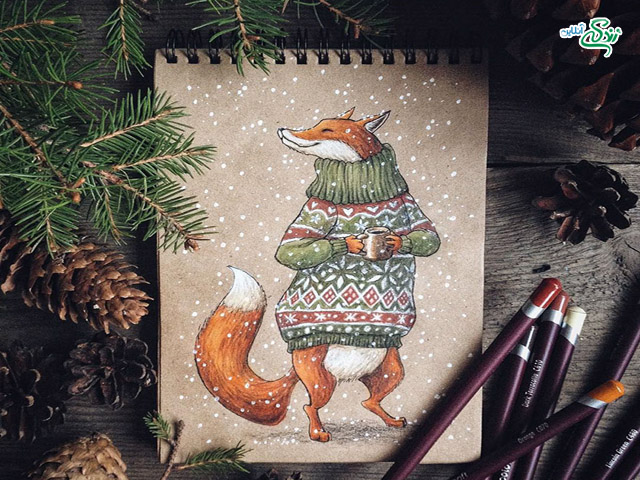 نقاشی های زیبا با مداد رنگی