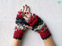 دستکش های قلابدوزی شده
