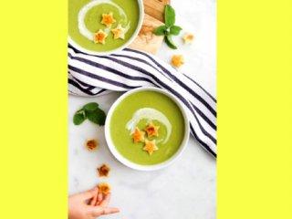سوپ نخودفرنگی و نعنا