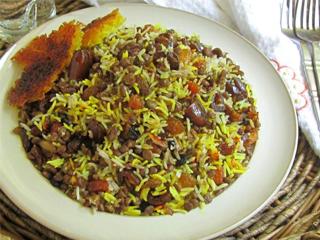 خوراك کاسرول برنج و عدس