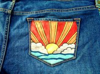 نقاشی روی پارچه جین